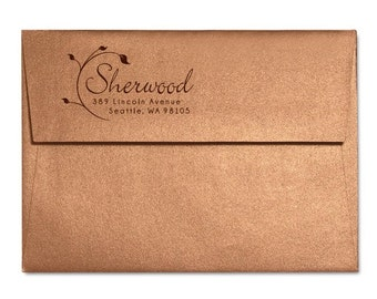 Family Address Stamp, Personalized Stationery Return Address Rubber Stamp, Wedding Address Stamp, Wedding Custom Stamp Self Inking, Art Deco