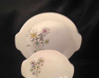 ROYAL TWINKLE Serving Plates,Retro Kitchen China, Twinkle Daisy Pattern made USA,Kitchy Dinnerware