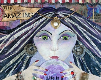 THE AMAZING, Fortune Teller, Psychic, Crystal Ball, Witch, Circus, Decor, Wall Art, Mixed Media, Art Print, Print, Fantasy, Alicia Hayes Art