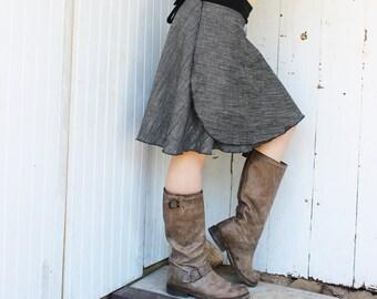 Hemp Wool Short Wrap Skirt - Organic Fabric - Made to Order - Eco Fashion