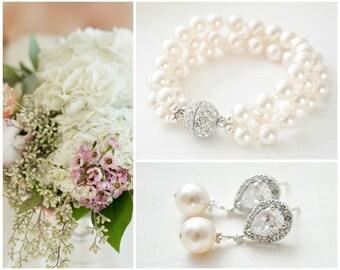 Wedding Jewelry Set, Pearl Bridal Jewellery SET, Bridal Bracelet Set, Bridal Earrings Set