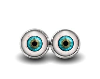 Eyeball Earrings, Human Eye, Evil Eye Stud Earrings, Glass Eyes, Weird Earrings, Creepy, Glass Eye Earrings