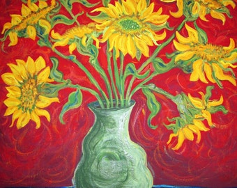 Yellow Sunflowers  on Red Background 18x24 Print