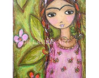 Frida y su Jardin - Folk Art  Print from Painting (5 x 7  inches PRINT) by FLOR LARIOS