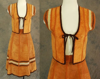 vintage 70s Suede Knit Skirt Set - 1970s Crochet and Suede Patchwork Skirt and Vest - Boho Tan Suede Midi Skirt Sz XS