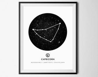 Capricorn Print, Capricorn Wall Art, Capricorn Zodiac, Zodiac Wall Art, Capricorn Poster, Costellation Print, Capricorn Sign, Zodiac Print