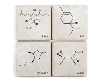 Chemistry of Drinks, Set of 4 Coasters - Beer, Gin, Whiskey, Vodka, Wine, Coffee, Tea, Absinthe, Scotch, Rum, Tequila