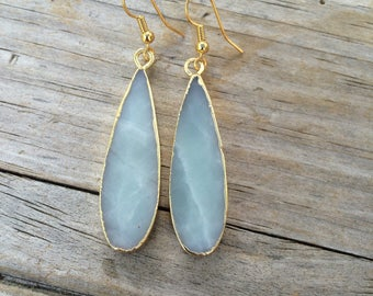 Teardrop Amazonite Earrings, Natural Stone earrings, Drop Earrings, Stone earrings, Gifts for her, Aqua Earrings
