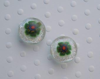 Flower Earrings - Millefiori flowers - Dichroic Fused Glass  - Stud Earrings - Fused Glass - Spring Flower Seeds - Gardener Gift 1571