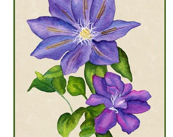 "5x7 Floral Greeting Card ""Clematis 2"""