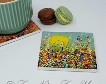 Original Design Ceramic Coaster with Art Print 'Spring in Bloom'