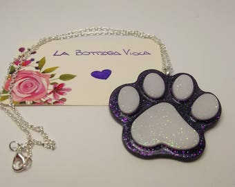 Resin creation-necklace chain Silver paw Zampetta dog cat-paw dog cat necklace