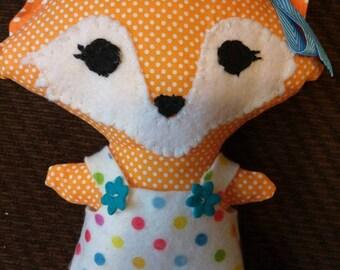 Handmade Fox Doll with Felt Overalls, Plush Stuffed Animal, Baby Shower, Birthday