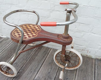 Vintage 50s toy/decoration red Soupex tricycle