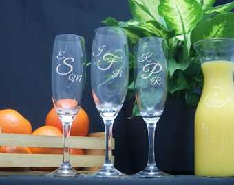 Personalized Champagne Flutes / Monogram Glasses / Etched Glasses / Custom Engraved Champagne Flute / Wedding Set/ Select ANY QUANTITY