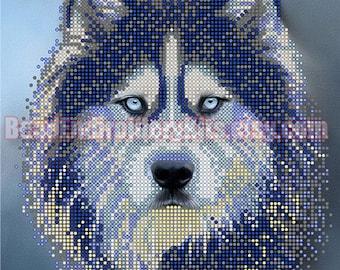 Husky DIY beaded embroidery kit, bead stitching, beading on needlepoint kit, beadpoint, beaded painting craft set
