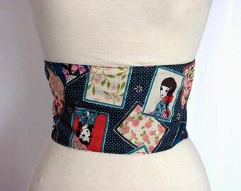 Ceinture obi réversible en coton, motif geisha et cartes à jouer sur fond bleu