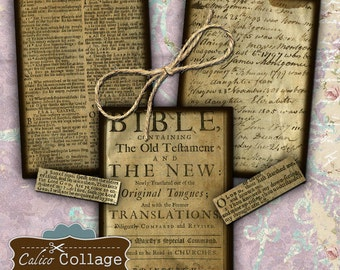 Vintage Bible Pages Digital Collage Sheet 2.5x3.5 ATC Images, Journaling Spot, Mixed Media, Decoupage Paper, Printable Images, CalicoCollage