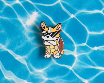 Squirtle Corgi Pin - Hard Enamel Pin - Lapel Pin - Squorgi