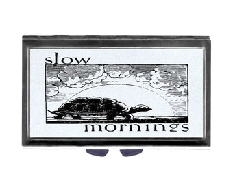 Pill Case with Mirror Turtle funny Slow Mornings pill box 3 day sections blue mornings