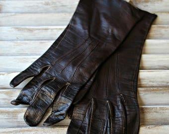 Vintage! Gloves. Brown. leather. 1960s. Nice gloves!