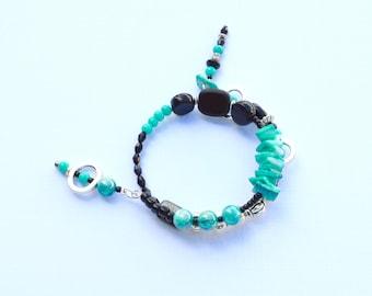 chunky,boho,beads,beaded bracelet,bracelet,jewelry,jewellery,gift for mom,gift for her,wedding gift,gift for sister,turquoise,black,gifts