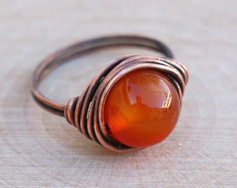Carnelian Ring, Crystal Ring, Gemstone Ring, Wire Wrapped Crystal, Healing Crystal, Boho Crystal Ring