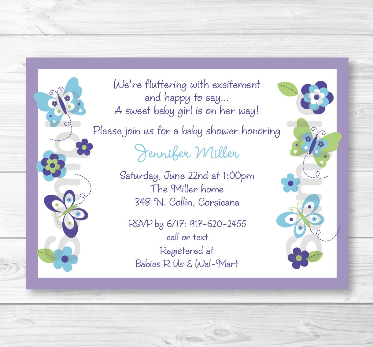 Cute Butterfly Baby Shower Invitation / Butterfly Baby Shower