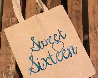 Sweey Sixteen Tote / Sweet Sixteen Bag / Sweet Sixteen Gift Bag / Sweet Sixteen