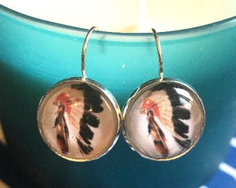 Head dress cabochon earrings- 16mm