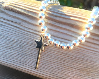 Bracelet entirely in 925 silver with magic wand pendant