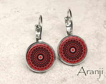 Red mandala leverback earrings, red mandala earrings, red earrings, mandala drop earrings, mandala earrings PA125LB