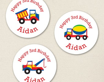 Truck Party - Custom Stickers - Sheet of 12 or 24