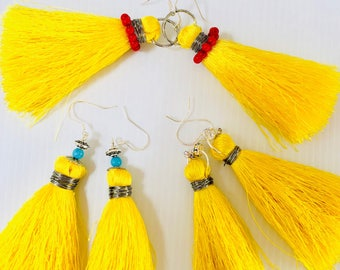 Boho tassle sterling silver earrings