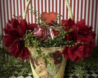 Valentine Basket, Victorian Valentine, Peat Pot Basket, Valentine Decoration