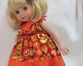 "Ann Estelle 10"" Custom-Made ""Halloween Pumpkins""Lined Dress with Large HairBow and Black Tights"