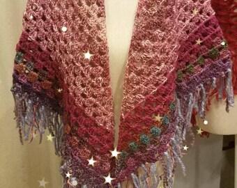 Handmade crochet triangle shawl multicolor