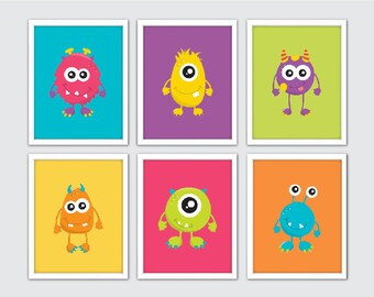monster nursery prints set of 6 baby monster art baby monster theme - Monster Pictures For Kids To Print