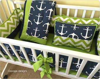 Navy and Chartreuse Nautical Anchors Baby Boy Cradle Bedding Set - Includes Cradle Bumper, Baby Blanket, Sheet and Accent Pillow