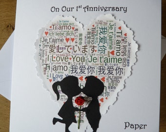 1st wedding anniversary card paper 1st anniversary first love heart with rose