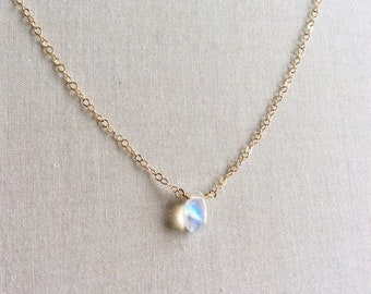 """Tiny Moonstone Necklace, Gold Moonstone Necklace, Rainbow Moonstone Necklace, Moonstone Jewelry, Small Gold Filled Necklace, 18"""" Gold, GN16"""