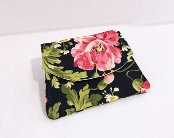 Floral womens wallet fabric wallets gifts for her Mother's Day gift ideas pretty girls wallets zipper magbetic button credit card holder