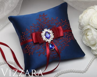 Ring bearer pillows Navy wedding Ring bearer pillow burlap Navy and burgundy wedding Ring bearer pillow alternatives