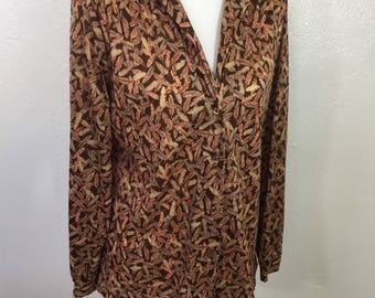 70s Alex Colman Sportswear Blouse Size S-M Feather Print Semi Sheer Long Sleeve Button Front