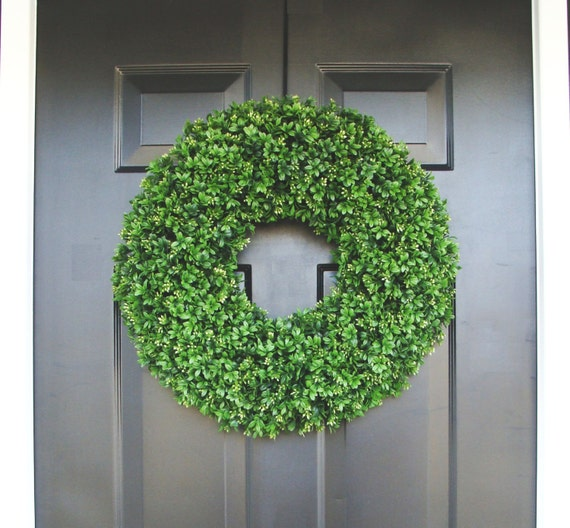Realistic 20 inch Faux Boxwood Wreath (sizes 14 to 30 inches available)- Wedding Door Decor- Spring Wreath