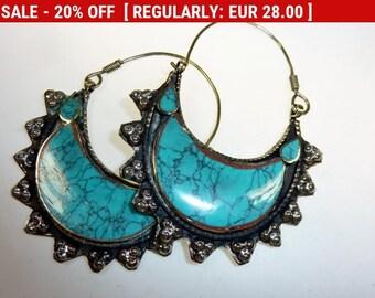 Turquoise Tribal Hoop Earrings, Vintage Tribal Fusion, Kuchi, Hippie-, Boho Earrings