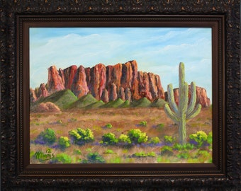 American West Superstition Mountain Arizona FRAMED Original Oil Ready to Hang Certificate of Authentcity
