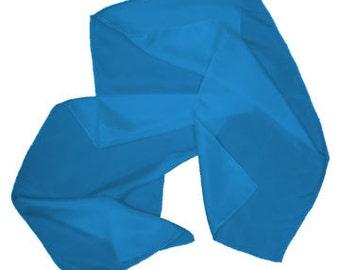 """Cerulean Blue 100% Habotai Silk Scarf - 8""""x 54"""" - Dyed"""