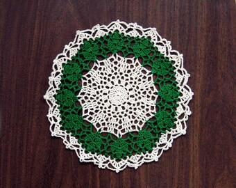 Irish Shamrocks Crochet Lace Doily, Spring Table Decor, 9 Inch Doily, Myrtle Green, Cream, Shamrock Decor
