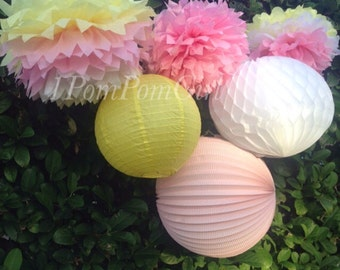 Summer Fun- 4 Tissue Paper Poms/4 Paper Lanterns // Baby Shower, Birthday, Wedding, Bridal Shower, Nursery Decor, Summer Decor